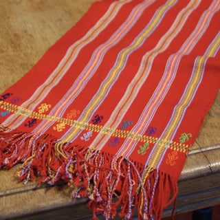 Long Red Pantelho Striped Table Runner, 8' Long - Zinnia Folk Arts