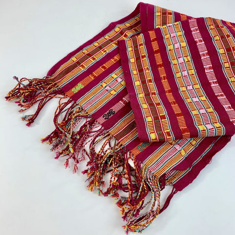 Wide Vibrant Handwoven Mexican Cotton Striped Scarf or Tablerunner - Zinnia Folk Arts