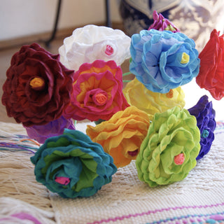 Bright Multicolored Mexican Paper Flowers, Small - Zinnia Folk Arts