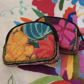 Puffy Coin Purse, Machine Embroidered - Zinnia Folk Arts