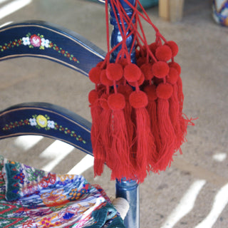 Wool Pompoms, Set of 6 Poms and Tassel - Zinnia Folk Arts