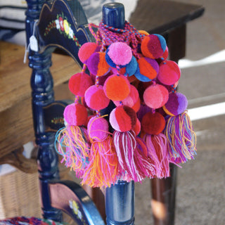 Mixed Colors Wool Pompoms, Set of 3 Poms and Tassel - Zinnia Folk Arts