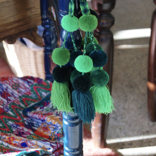 Wool Pompoms, Mixed Greens or Blues, Set of 5 Poms and Tassel - Zinnia Folk Arts