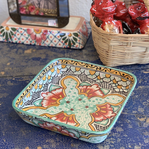 "Square Mexican Talavera Baking Pan, 9""x9"" - Zinnia Folk Arts"