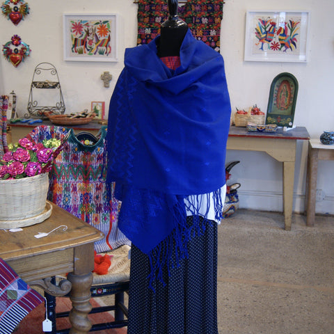 Lightweight V. Carranza Cotton Rebozo from Chiapas, Mexico - Zinnia Folk Arts