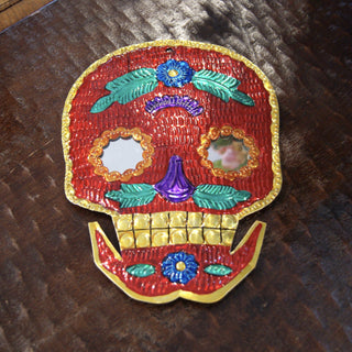 Painted Day of the Dead Mexican Tin Mirrors, Large - Zinnia Folk Arts