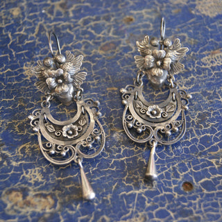 Mazahua Earrings, Corazon with Lovebirds and Light Filagree - Zinnia Folk Arts