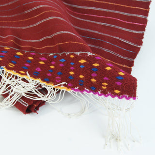 Red Wool Larrainzar Striped Faja/Table Runner, 8' Long - Zinnia Folk Arts