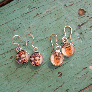 Frida Kahlo Earrings in Resin, Silver backed, Silver wires - Zinnia Folk Arts