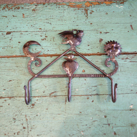 Chiapas Forged Iron Coat Rack - Zinnia Folk Arts