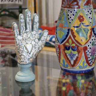 Double-Sided Wooden Hand Covered with Milagros - Zinnia Folk Arts