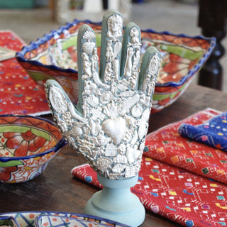 Double-Sided Wood Hand Covered with Milagros - Zinnia Folk Arts