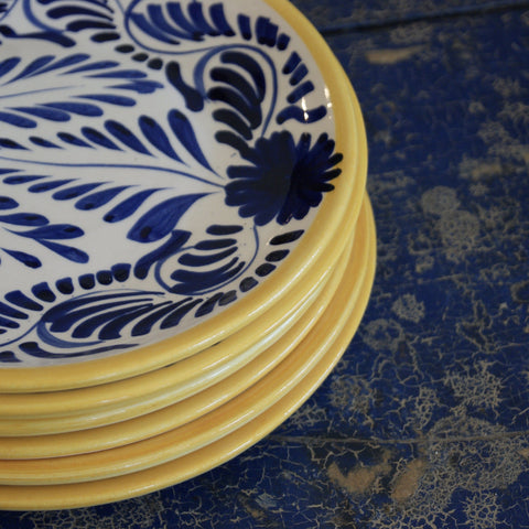Handmade Blue, Yellow & White Dessert Plates in the Talavera Style - Zinnia Folk Arts