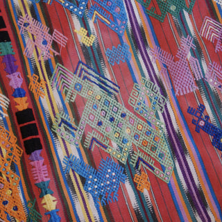 Vintage Woven & Embroidered Guatemalan Tablecloth - Zinnia Folk Arts