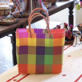Plastic Woven Bags in Bright Plaids - Zinnia Folk Arts