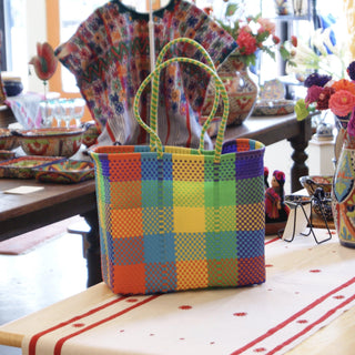 Large Plastic Woven Bags in Bright Plaids - Zinnia Folk Arts