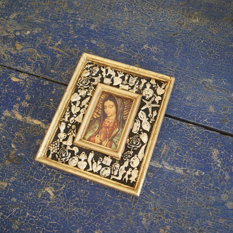 Milagro Covered Frame with Guadalupe and Gold Leaf Edging - Zinnia Folk Arts