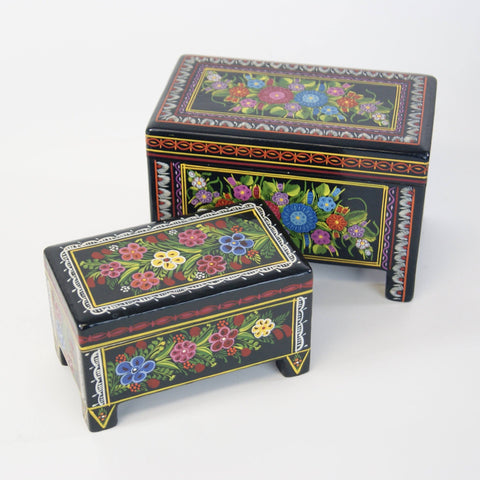 Painted Mexican Lacquer Boxes, 2 Sizes - Zinnia Folk Arts