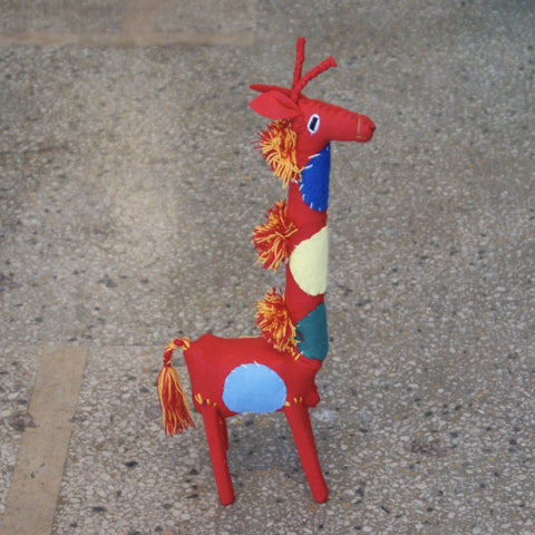 Colorful Flannel Giraffes from Chiapas - Zinnia Folk Arts