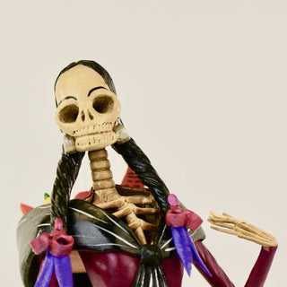 Mexican Clay Day of the Dead Catrina, Carrying Fruit in Rebozo - Zinnia Folk Arts