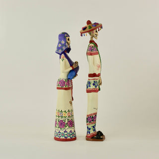Mexican Clay Catrin and Catrina, Huichol Day of the Dead Couple - Zinnia Folk Arts