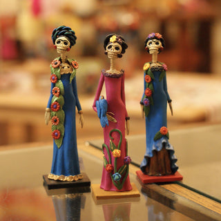 Mexican Clay Day of the Dead Frida Kahlo Catrinas, Small - Zinnia Folk Arts
