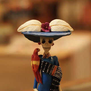 Mexican Clay Day of the Dead Catrina, Small - Zinnia Folk Arts