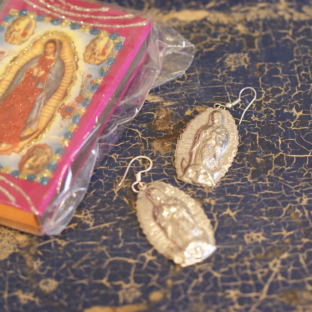 Virgen de Guadalupe Nickel Silver Earrings - Zinnia Folk Arts