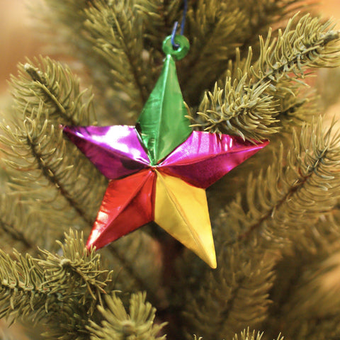 5-Point Mexican Tin Star Ornament, Painted - Zinnia Folk Arts