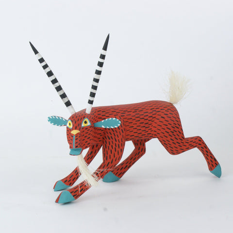Red Deer Wood Carving, Moises Jimenez - Zinnia Folk Arts
