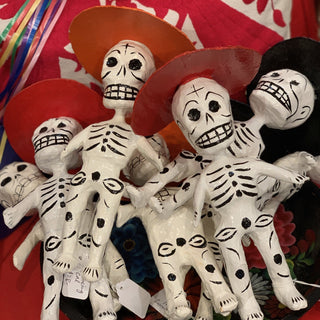 Papier Mache Day of the Dead Rustic Skeletons - Zinnia Folk Arts