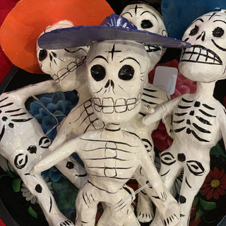 Paper Mache Day of the Dead Rustic Skeletons - Zinnia Folk Arts