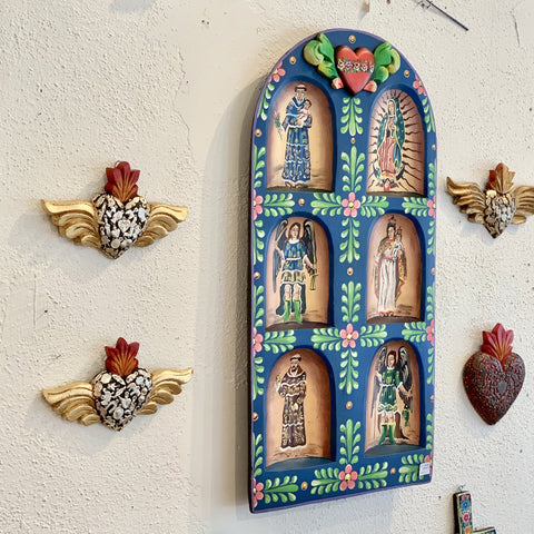 Mexican Wooden Wall Hanging Retablo with Six Saints, Extra Grande - Zinnia Folk Arts