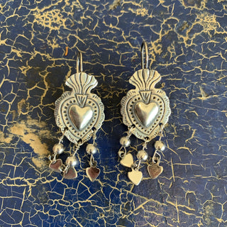 Pressed Silver Sacred Heart Earrings, Sterling Silver - Zinnia Folk Arts
