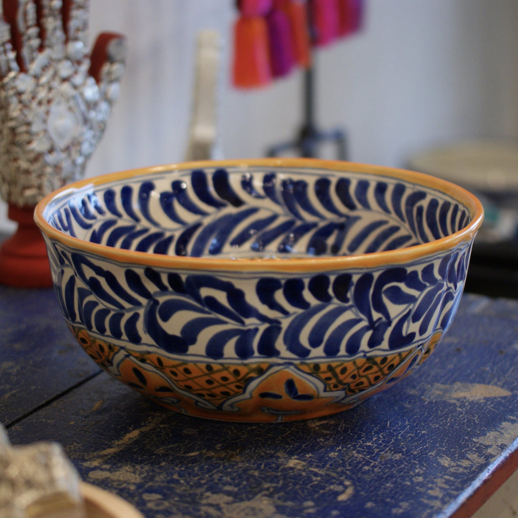 Blue, White and Yellow Calabaza Talavera Salad Bowl, Large - Zinnia Folk Arts
