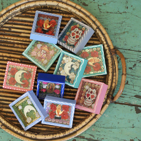 Tiny Painted Wood  Nicho Boxes - Zinnia Folk Arts