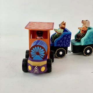 Marcelo Vidales Carved Animals on a Train Alebrije - Zinnia Folk Arts