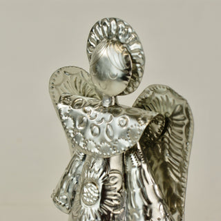 3-D Natural Tin Angel Tree Topper - Zinnia Folk Arts