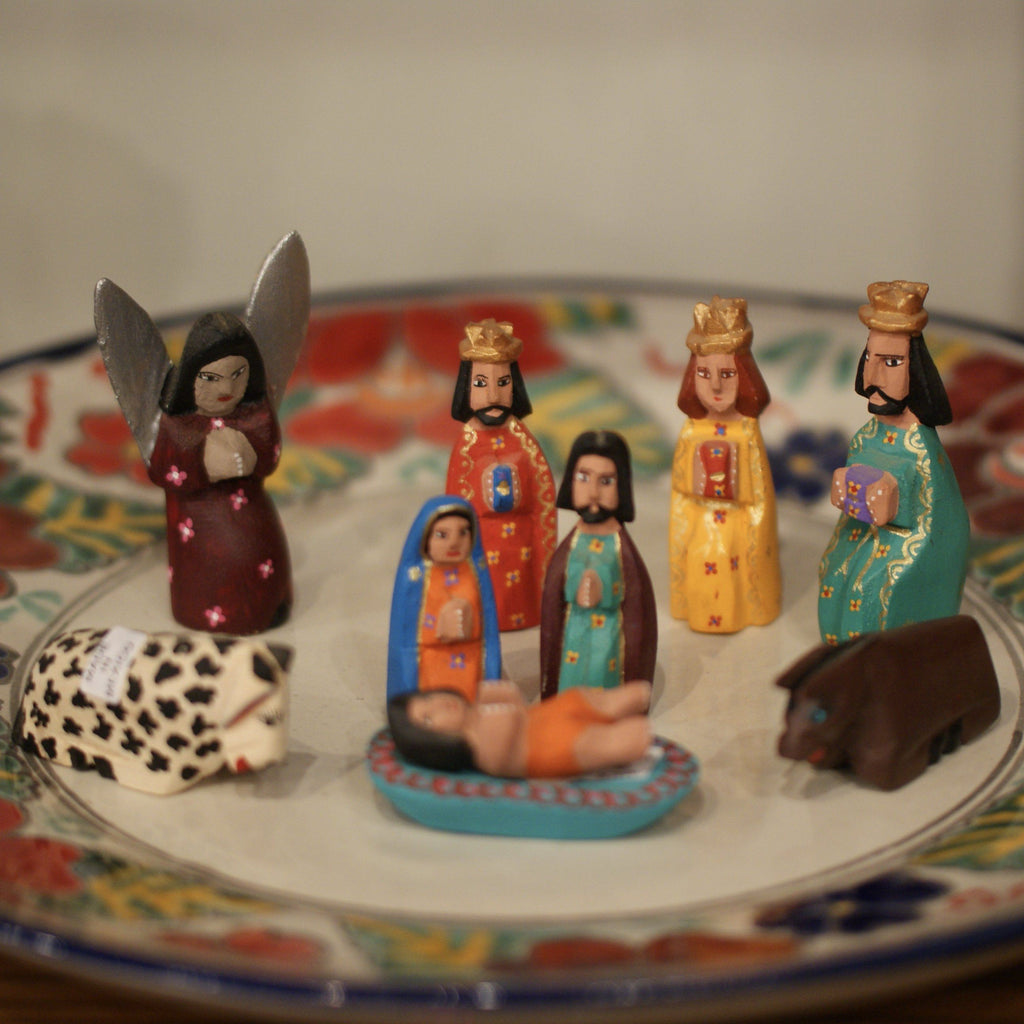 Sophisticated Carved & Painted Mexican Nativity, San Martin Tilcajete, Oaxaca, Chico - Zinnia Folk Arts