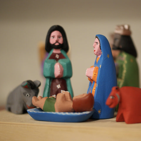 Sophisticated Carved & Painted Mexican Nativity, San Martin Tilcajete, Oaxaca
