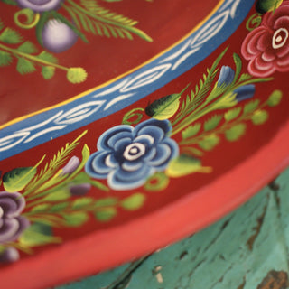 Painted Olínala Lacquered Batea Tray, 3 Sizes - Zinnia Folk Arts