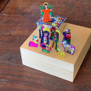 Tiny Fold-Up Tin Nativity Creche with Its Own Box, 10 pieces - Zinnia Folk Arts