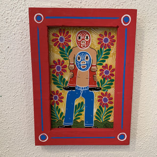 Whimsical Lorenzo Family Folk Art Paintings on Masonite, Framed - Zinnia Folk Arts