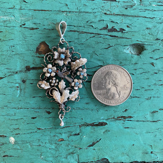 Frida Kahlo Silver Pendant with Leaves, Birds and Flowers - Zinnia Folk Arts