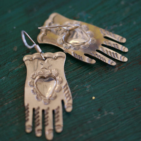 Mexican Nickel Silver Hand Earrings - Zinnia Folk Arts