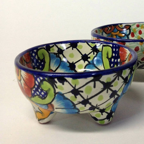 Three Footed Bowls, Dolores Hidalgo Molcajete Bowls, 2 Sizes - Zinnia Folk Arts