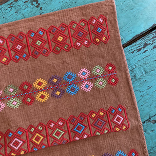 Multi-Color on Brown Handwoven Square Pillow Cover, Chiapas - Zinnia Folk Arts