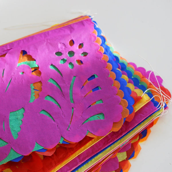 Wedding or Day of the Dead Papel Picado, 50 Mexican Paper Flags on a String, Medium