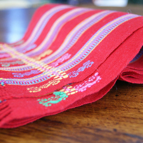 Long Red Pantelho Striped Table Runner, 8' - Zinnia Folk Arts