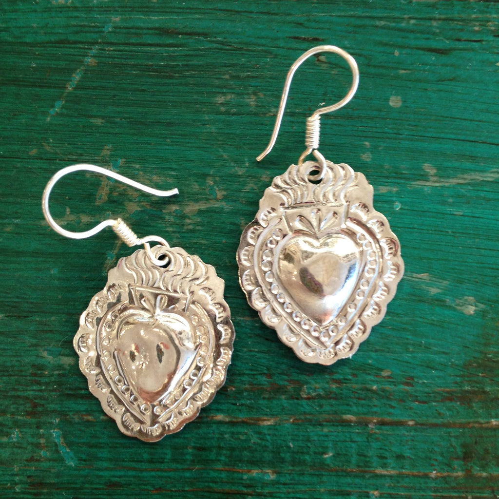 Mexican Nickel Silver Sacred Heart Earrings - Zinnia Folk Arts